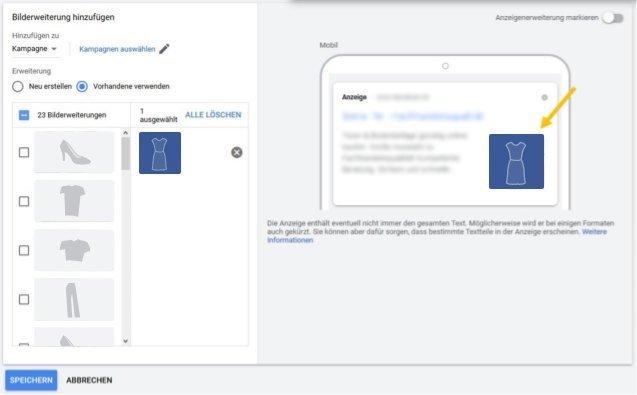 Beispielbild Ads Editor Dynamische Bilderweiterung