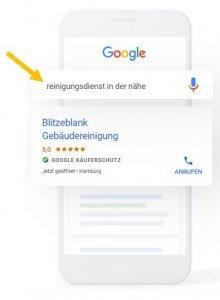 Beispielbild Suchanfrage zu Reinigugnsdienst Local Service Ads