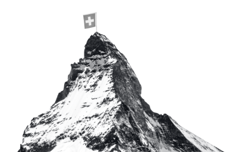 Berg Schweizer Alpen mit Flagge