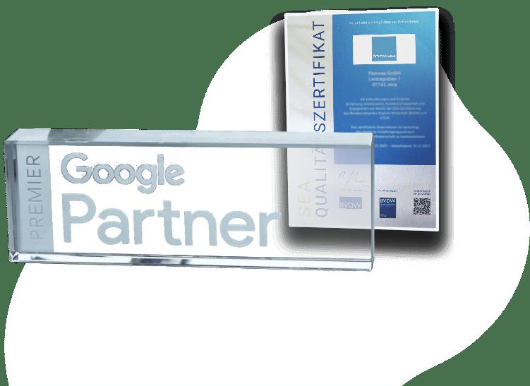 Zertifkate Google Partner und SEA-Qualitätszertifikat von BVDW